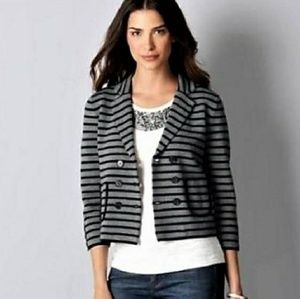 🍂 Ann Taylor LOFT striped double breasted jacket